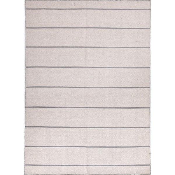 Handmade Flat Weave Stripe Ivory/ White Wool Rug (5' x 8')