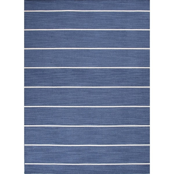 Handmade Flat-Weave Stripe Denim Blue Wool Runner (2'6 x 8')