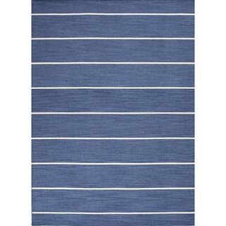 Handmade Contemporary Flat-weave Blue Stripe Wool Rug (8' x 10')