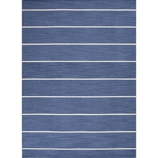 Handmade Traditional Flat-Weave Stripe Blue Wool Rug (4' x 6')