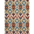 Transitional Tribal Blue Polyester Tufted Rug (2' x 3')