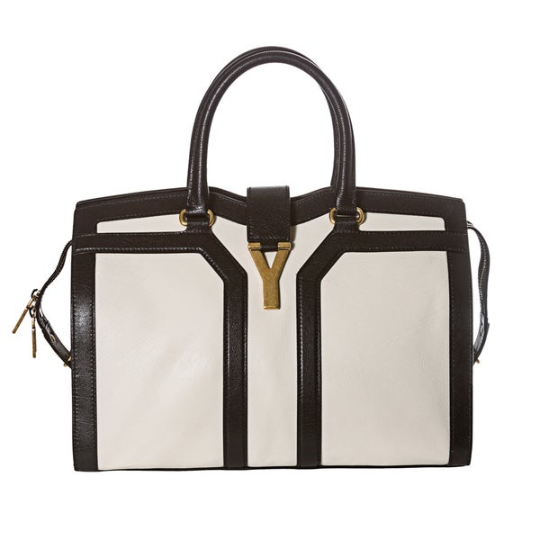 Yves Saint Laurent Medium Cabas ChYc Black and White Tote ...