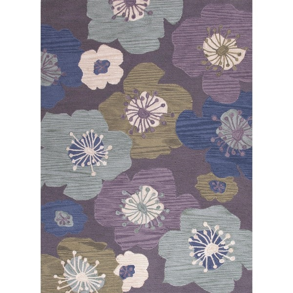 Transitional Pink/ Purple Tufted Rug (7'6 x 9'6)