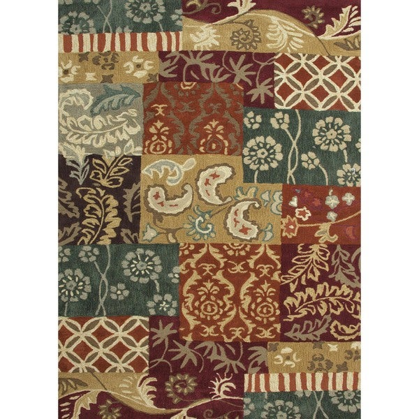 """Transitional Red/Orange Tufted Area Rug (7'6"""" x 9'6"""")"""