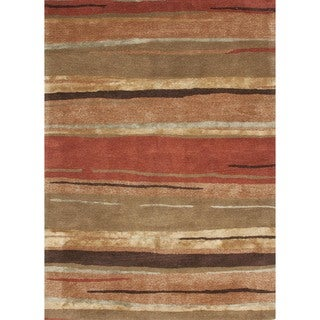 Transitional Red/ Orange Wool/ Silk Tufted Rug (8' x 11')