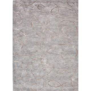 Transitional Gray/ Black Wool/ Silk Tufted Rug (3'6 x 5'6)