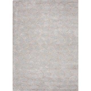 Transitional Gradation Blue Wool/ Silk Tufted Rug (8' x 11')