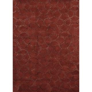 Modern Red Geometric Wool/Silk Tufted Rug (8' x 11')