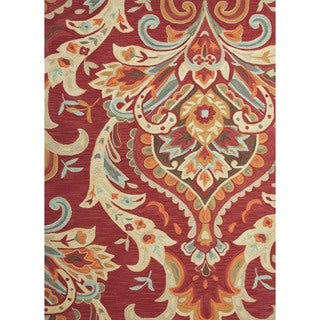 Transitional Red/ Orange Tufted Rug (7'6 x 9'6)
