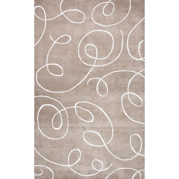 Transitional Beige/ Brown Wool/ Silk Tufted Rug (3'6 x 5'6)