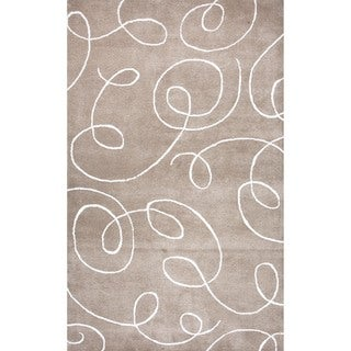 Transitional Tufted Wool/ Silk Beige/ Brown Area Rug (8' x 11')