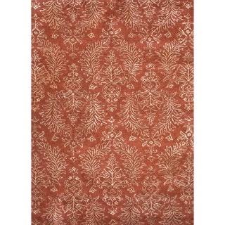 Transitional Oriental Red/ Orange Wool/ Silk Tufted Rug (5' x 8')