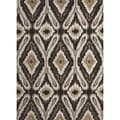 Transitional Tribal Gray/ Black Tufted Rug (2&#39; x 3&#39;)