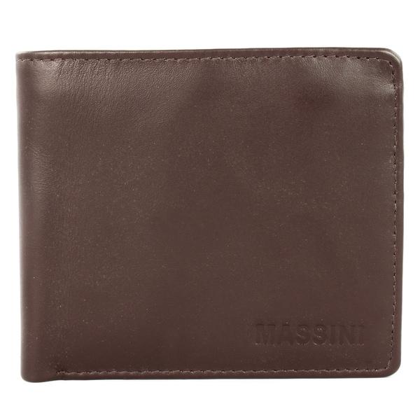 Massini Men's Brown Leather Bi-fold Wallet