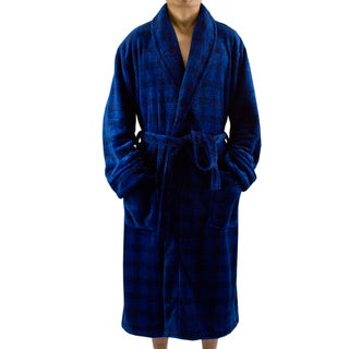 Leisureland Men's Navy Blue Plaid Fleece Robe