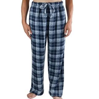 Leisureland Men's Navy Blue Plaid Fleece Pants