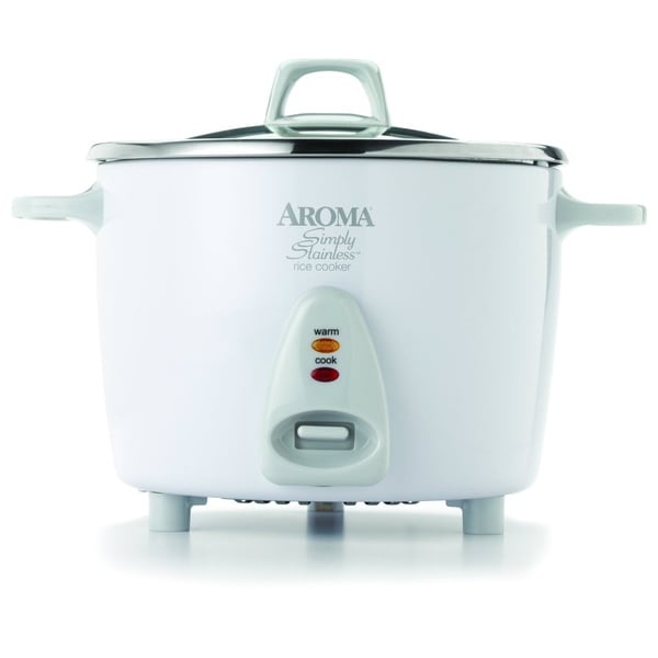 Aroma White 20-cup Simply Stainless Rice Cooker