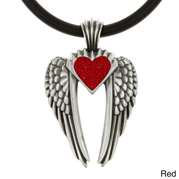 Pewter Colored Crystal Heart 'Wings of Uriel' Necklace