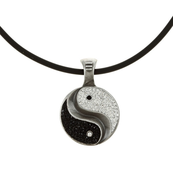 Pewter Black and White Crystal Yin and Yan Necklace