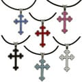 Pewter Colored Crystal Blanik Cross Necklace