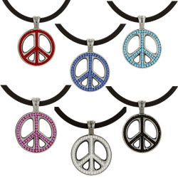 Pewter Colored Crystal Peace Cluster Necklace