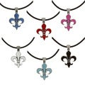 Pewter Colored Crystal Orleans Fleur de Lis Necklace