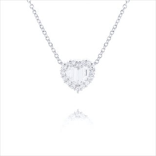Blue Box Jewels Rhodiumplated Silver Baguette CZ Heart Necklace