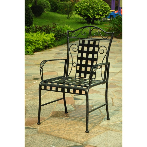International Caravan Lattice Outdoor Iron Black Dining Chairs Set Of 2