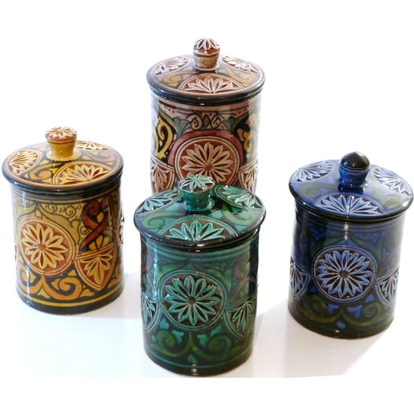 set of 4 large engraved ceramic canisters morocco