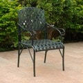 International Caravan Diamond Lattice Iron Verdi Gris Patio Chairs (Set of 2)