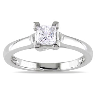 Miadora Platinum 1/2ct TDW Princess Diamond Solitaire Ring (I-J, I1-I2)