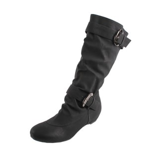 Fashion Focus by Beston Women's Black Buckled Boots