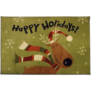Happy Holidays Reindeer Accent Rug (1'8 x 2'10)