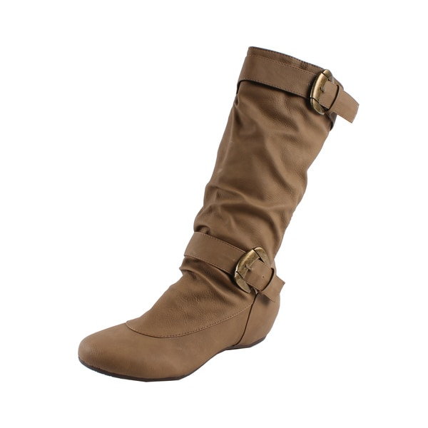 Fashion Focus by Beston Women's Camel Buckled Knee-high Boots