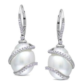 Miadora 14k Gold South Sea Pearl and 1/3ct TDW Diamond Earrings (SI1-SI2)