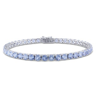 Miadora 14k or 10k White Gold Created Aquamarine Tennis Bracelet