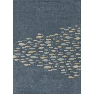 Transitional Blue Wool/ Silk Tufted Runner Rug (2'6 x 8')