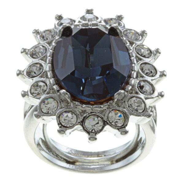 Kenneth Jay Lane Silvertone Blue Crystal Ring