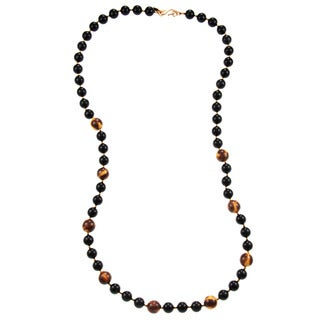 Kenneth Jay Lane Black/Tortise Bead Necklace