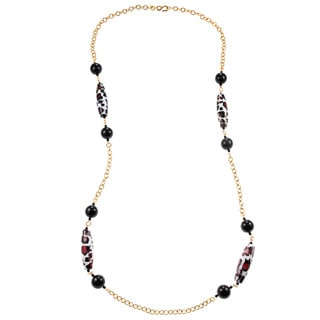 Kenneth Jay Lane Goldtone Link Black Bead Oval Leopard Bead Necklace
