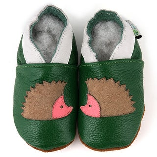Green Hedgehog Soft Sole Leather Baby Shoes