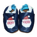 Blue Santa Soft Sole Leather Baby Shoes