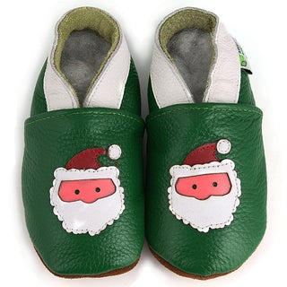 Green Santa Soft Sole Leather Baby Shoes