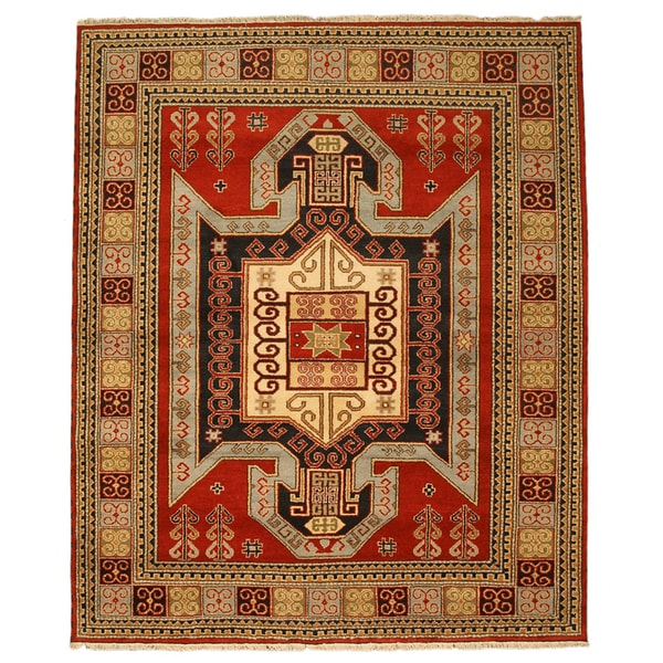 Hand-knotted Kazak-12 Red Wool Rug