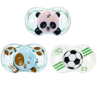 RazBaby Keep-It-Kleen Panky Panda, Percy Puppy, Soccer Ball Pacifiers (Set of 3)