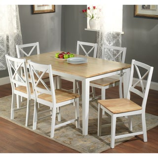 Crossback White/ Natural 7-piece Dining Set