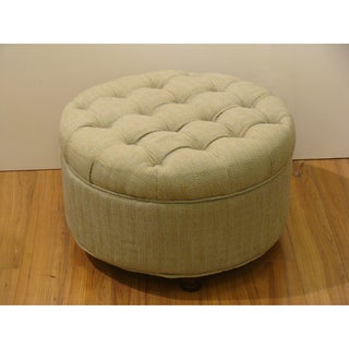 Tan and Cream Tweed Tufted Storage Ottoman