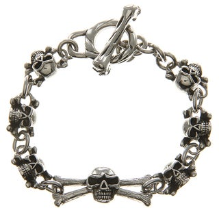 Inox Stainless Steel Oxidized Black Ion-plated Skull toggle Bracelet