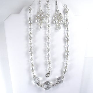 Silverplated White Glass Pearl and Clear Crystal Jewelry Set