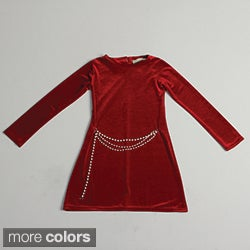 Paulinie Girl's Long Sleeve Velvety Dress